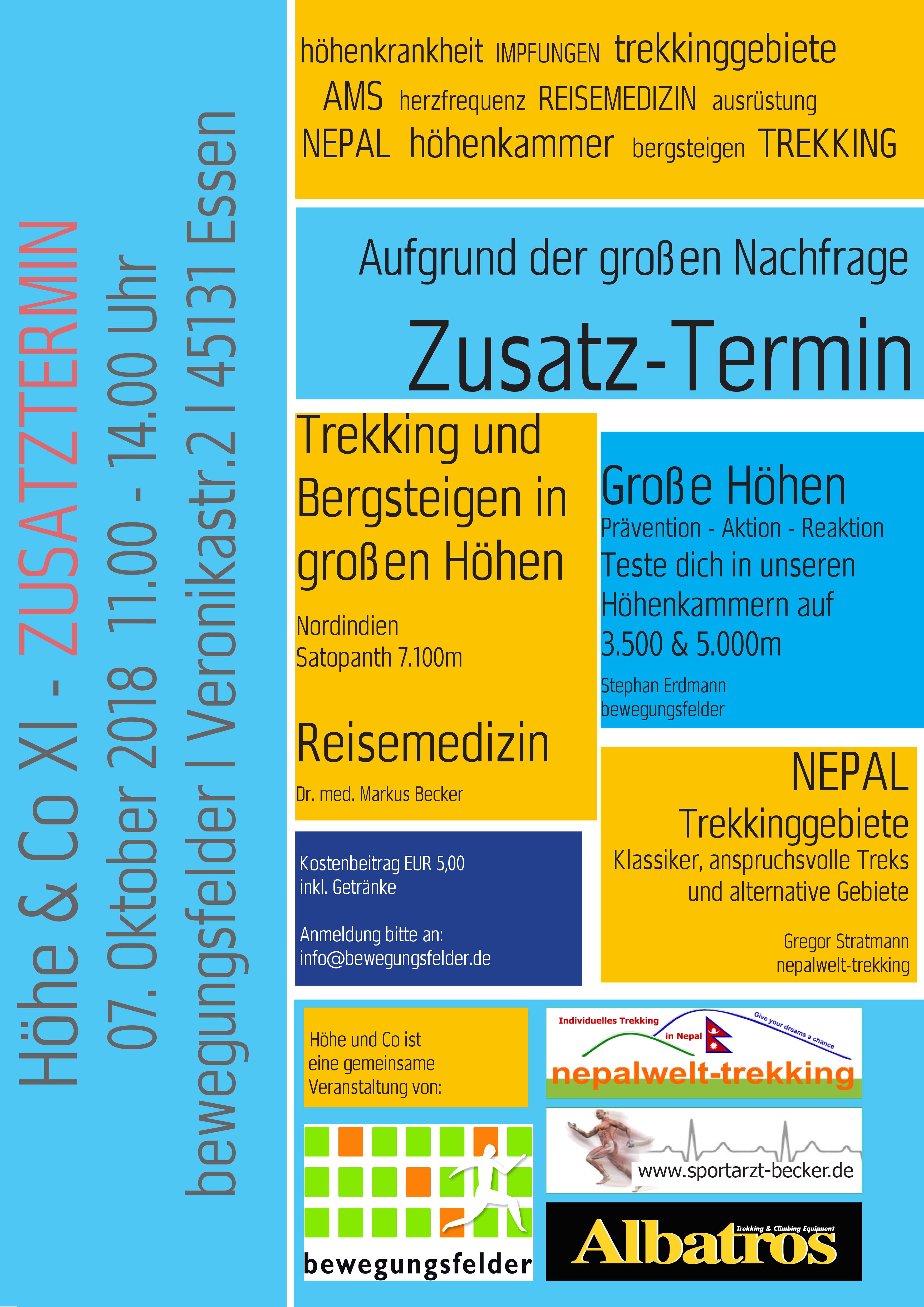 Zusatzveranstaltung am 7.10.18 aufgrund großer Nachfrage: Höhe & Co Nr. XI